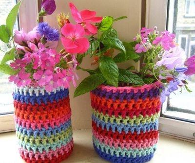 кашпо вязаное