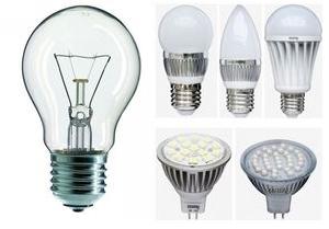 лампа накаливания и светодиодные лампы