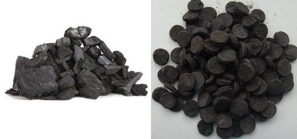 древесный уголь и сапропель